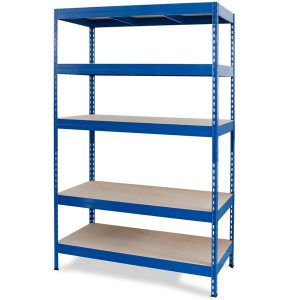 Stabil, boltless metal shelving with chipboard panels