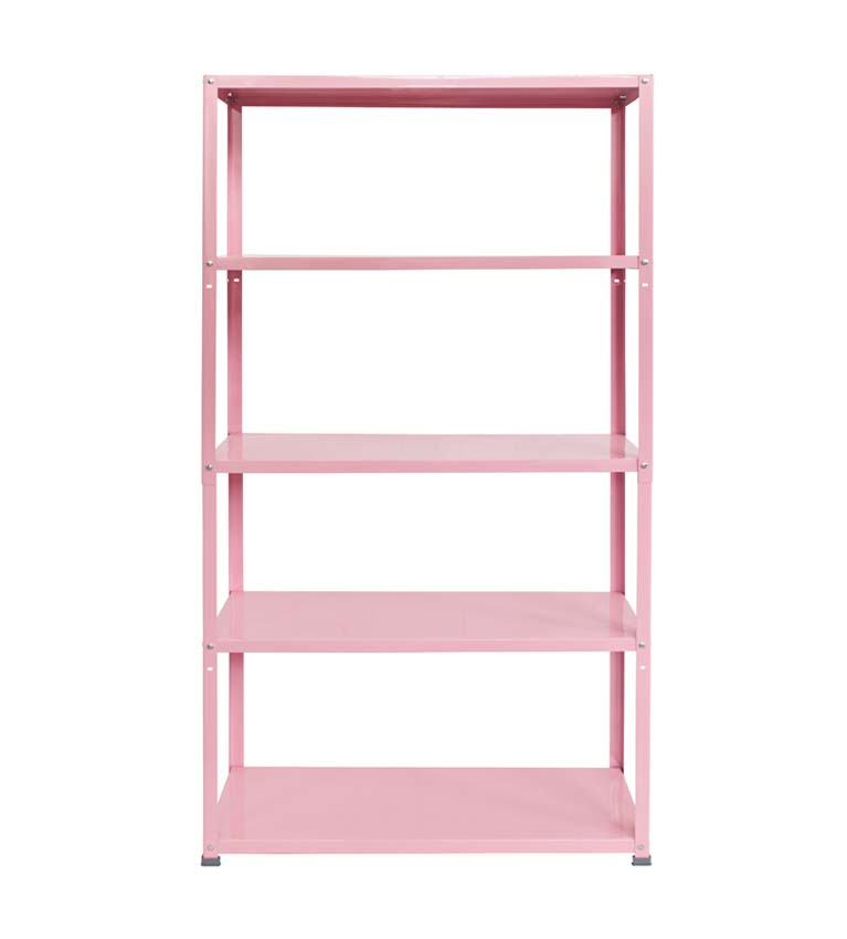 home decor pink metal shelving